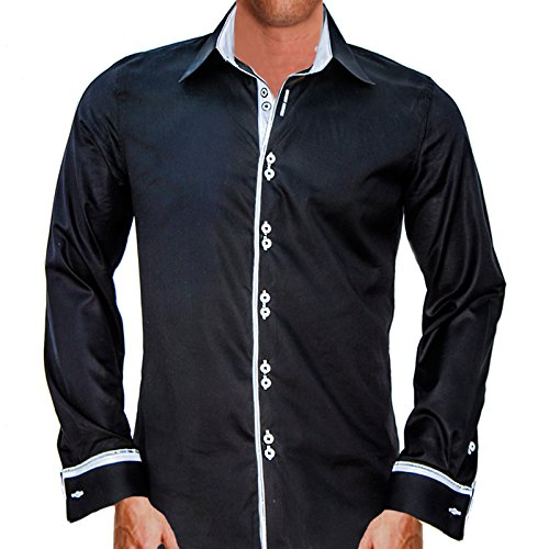 Anton Alexander Men's French Cuff Designer Dress Shirt Made In USA-M Fitted-Black/White by Anton Alexander