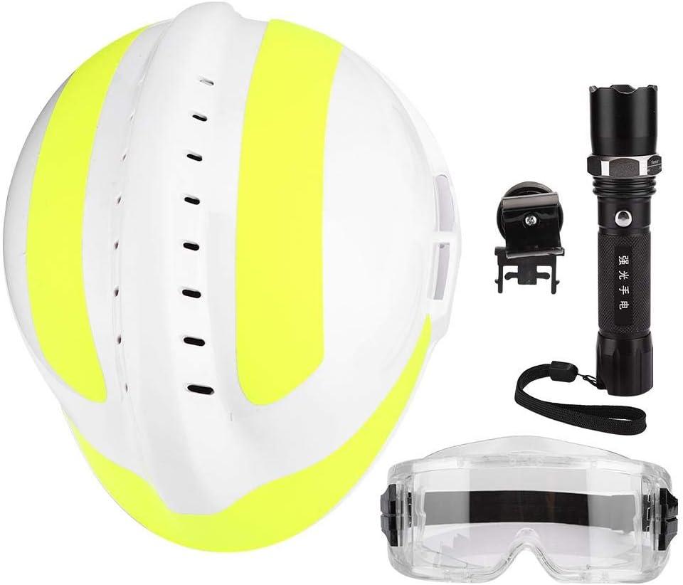 Casco, Cascos de Seguridad de Rescate de Emergencia Casco Protector Antiincendios Para Bomberos Con Faro Y Gafas