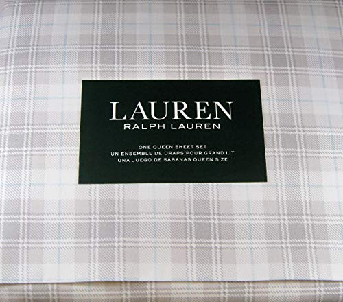 Lauren 4 Pc.Queen Size Plaid Sheet Set Gray and White with Hint of Blue Cotton