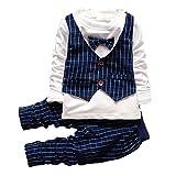 2pcs Baby Boys Clothing Set Fashion Bowtie Plaid Suit Tops Pant Clothes Navy Blue,80(6-12months)
