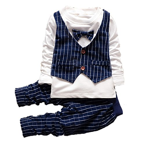 Old Navy Kids Clothes - Baby Boys Fashion Toddler Clothes Set Formal Suits Gentleman Style Navy Blue,100(2-3Years)