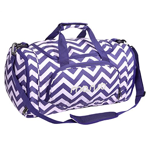 MOSISO Water Resistant Gym Sports Dance Travel Weekender Duffel Bag with Shoe Compartment, Chevron Purple -