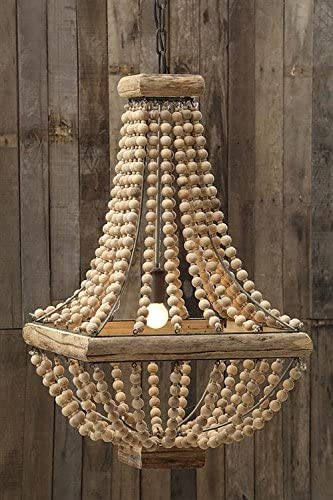 Square Metal Chandelier W Natural Color Wood Beads Country Home Lighting D