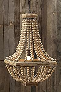 Square Metal Chandelier W/ Natural Color Wood Beads Country Home Lighting D