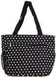 Womens Large Polka Dot Beach Tote Weekender School Gym Travel Bag (Black/White)