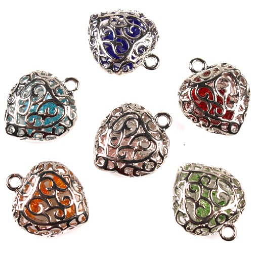 Heart Charm Findings (6x Charms Hollow Heart With Mixed Bead Plated Rhodium Copper Handmade Jewelry Making)