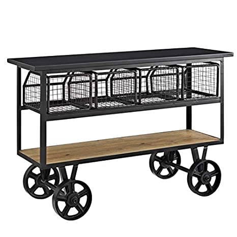 Modway Fairground Industrial Farmhouse Pine Wood and Steel Coffee Table on Metal Casters in Brown