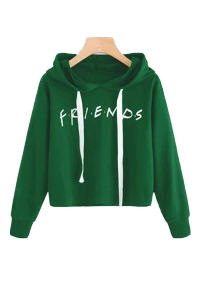 Womens Friends Hoodies,Crop Top Sweatshirt Athletic Hooded Pullover XS Green by Tasatific (Image #1)