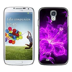 Caucho caso de Shell duro de la cubierta de accesorios de protección BY RAYDREAMMM - Samsung Galaxy S4 I9500 - Fire Purple Black Floral Petal Flower
