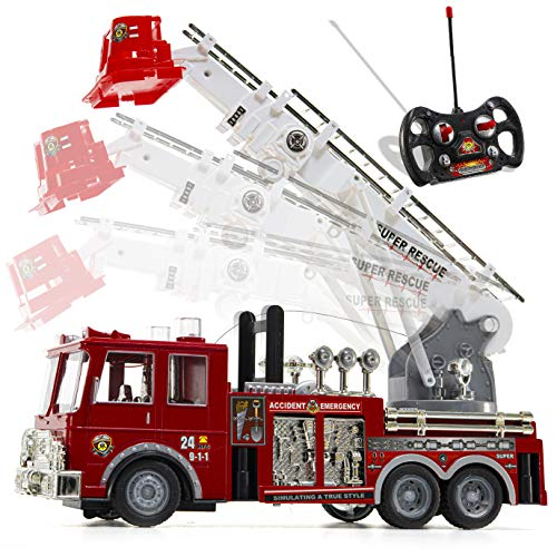 Prextex 13'' Rescue R/c Fire Engine Truck Remote Control Fire Truck Best Gift Toy for Boys with Lights Siren and Extending Ladder (Metal Toy Fire Truck)