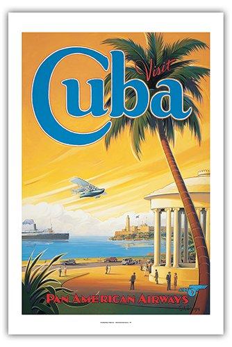 Pacifica Island Art Visit Cuba - Pan American Airways (PAA) - Havana Bay - Morro Cabana - Vintage Style Airline Travel Poster by Kerne Erickson - Premium 290gsm Giclée Art Print - 24in x 36in
