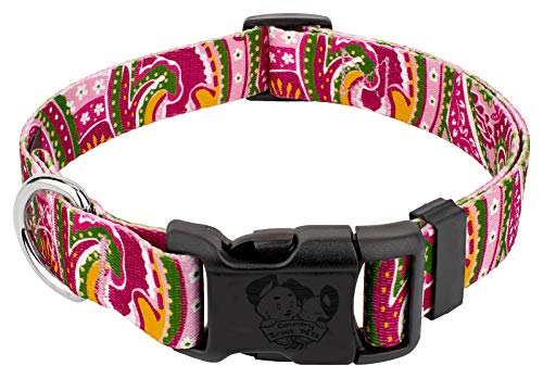 Paisley Dog Collar Pink - Country Brook Design | Pink Paisley Deluxe Dog Collar (Large)