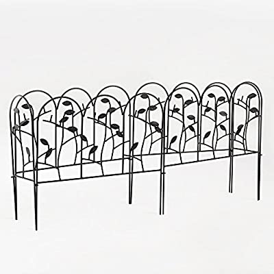 "Amagabeli 18"" by 7' Rustproof Black Metal Garden Fence - 4 + 2 Fencing Panels with Leaves Decorations Garden Border Fence Garden Fencing Folding Patio Fences Panels"