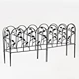 Amagabeli 18 Inches by 7 Feet Rustproof Black Dismountable Metal Decorative Garden Fence - 4 + 2 Panels with Leaves Decorations Garden Border Fence Garden Fencing Folding Patio Fences Panels