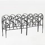 Amagabeli 18 Inches by 7 Feet Rustproof Black Dismountable Metal Decorative Garden Fence - 4 + 2 Panels with Leaves Decorations Garden Border Fence Garden Fencing Folding Patio Fences Panels