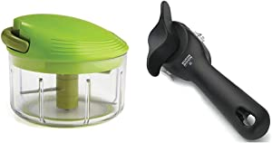 Kuhn Rikon Pull Chop Chopper/Manual Food Processor with Cord Mechanism, Green, 2-Cup & Rikon Auto Safety LidLifter/Can Opener with Ring Pull, 8 x 2.5 x 2.75 inches, Black
