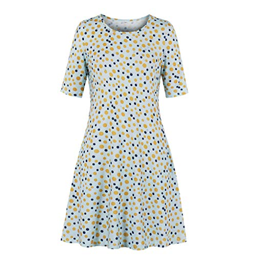 aihihe Boho Plus Size Dresses for Women Crew Neck Short Sleeve Summer Casual A Line Mini Dress with Pocket for Work(Yellow,L) -