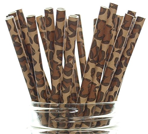 Leopard Print Straws (25 Pack) - Leopard Paw Pattern Paper Straws, Leopard Party Supplies, Animal Cat Spot Drinking Straws