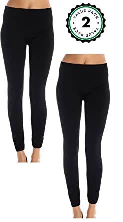 Fleece Lined Leggings for Women, Leg Warmer Yoga Pants (2 Pack) at ...