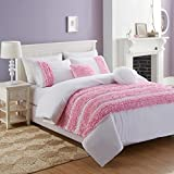 Cassiel Home Romantic 5pcs Frilling Textured Comforter Set Pink Ruched Stripes Ruffled Rose Luxurious Bedding for Kids Teen Girls Bedroom, Queen Size