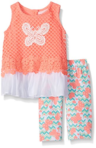 Butterflies Capri Girls Baby Clothes (Little Lass Baby Girls' 2 Pc Butterfly Capri Set, Coral, 18M)