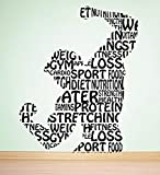 Vinyl Wall Decal with RA Fitness Sports Loss Protein Stretching Diet Nutrition Food
