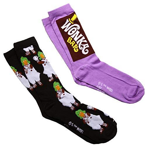 Willy Wonka Wonka Bar/Oompa Loompa 2-pack Adult Crew Socks (Veruca Salt Charlie And The Chocolate Factory Costume)