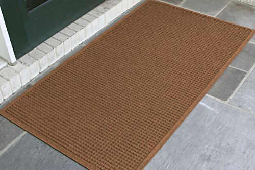 WaterHog Fashion Commercial-Grade Entrance Mat, Indoor/Outdoor Charcoal Floor Mat 5' Length x 3' Width, Dark Brown by M+A Matting