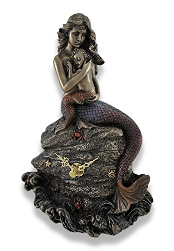 Zeckos Mermaid Mother and Child Bronzed Clock Statue