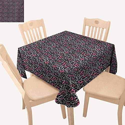 Angoueleven Leopard Print Tassel Tablecloth African Safari Animal Pattern Nature Inspired Fashion Cheetah Panther Table Cloth Cover Pink Grey Black W 36