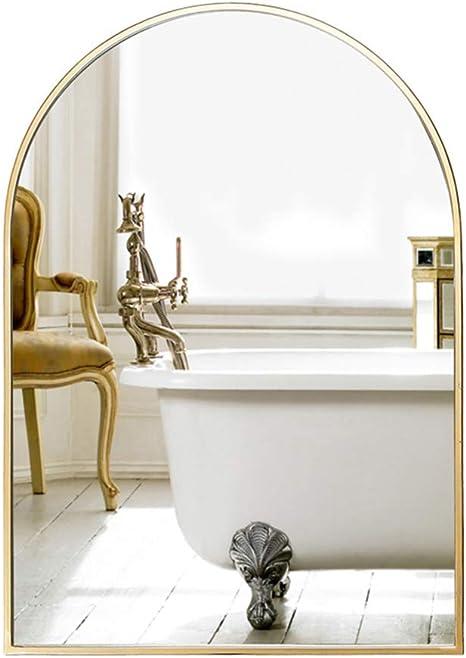 Amazon Com Wyzqq Wall Mirror For Bathroom Metal Frame Wall Mounted Decorative Mirror Modern Arched Bathroom Bedroom Hallway Entrance Vanity Mirror Hangs Vertical Home Kitchen