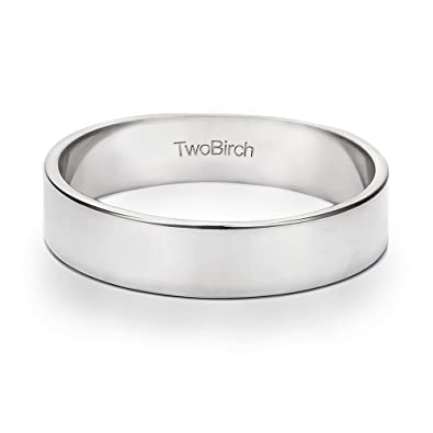 Twobirch 14k Gold Or Platinum 5 Millimeter Wide Plain Men S Wedding