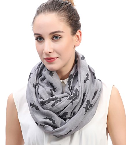 Lina & Lily Halloween Bat Print Infinity Loop Scarf Lightweight (Grey)]()