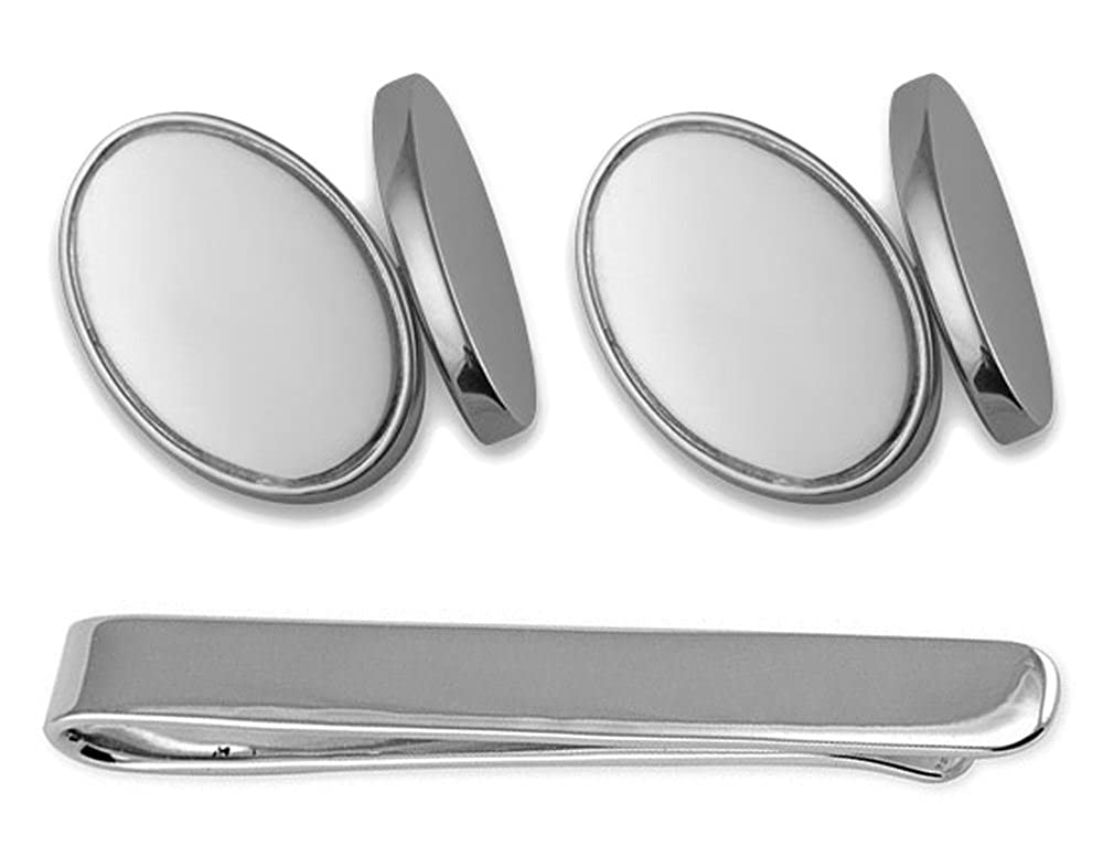Sterling silver double-sided oval Cufflinks Tie Clip Box Set