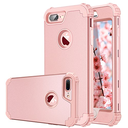 iPhone 7 Plus Case,iPhone 8 Plus Case,Fingic Anti Slip Full-Body Cover 3 in 1 Hybrid Hard PC & Soft Silicone Slim Fit Rugged Bumper for Women Girls Protective Phone Case for 7/8 Plus,Rose Gold