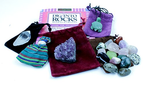Rock & Mineral Stocking Stuffer Variety Pack, 6 Surprise Gifts, Stone Turtle Necklace, Amethyst, Tumbled Stones, Worry Dolls, Quartz Crystal Point, & Rock Book, Fun Prizes & Party - Church Bookends