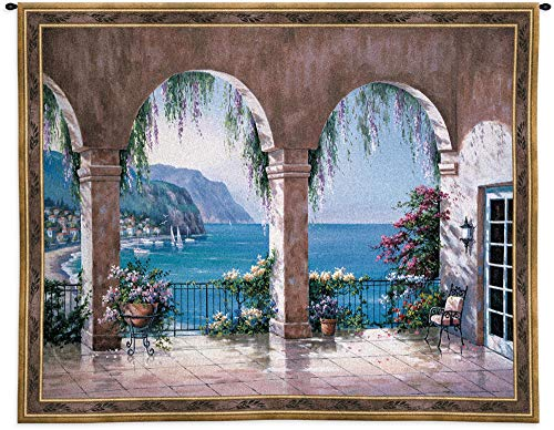 Italian Villa Tapestry - Mediterranean Arch | Woven Tapestry Wall Art Hanging | Floral Seaside Ocean View | 100% Cotton USA Size 53x42
