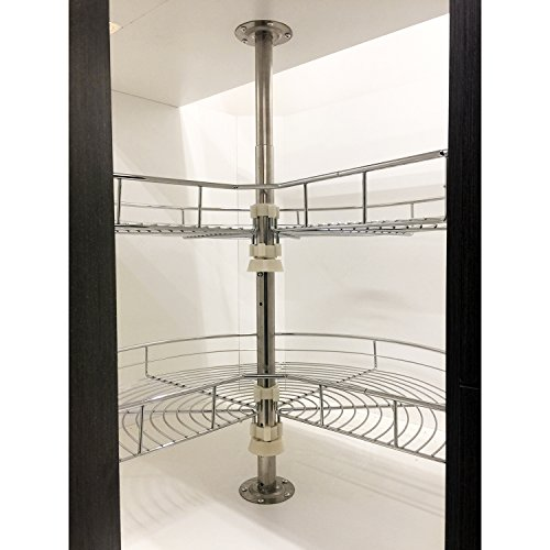 "Corner Base Cabinet (Dowell 28"" Kidney Shape Chrome Lazy Susan Double Rack Kitchen cabinet 2 Shelf Set)"
