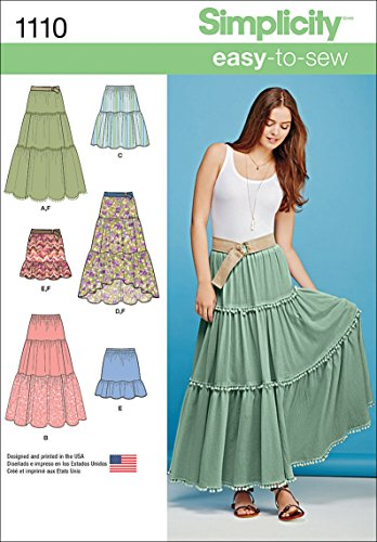Simplicity 1110 Learn to Sew Tiered Skirt Sewing Pattern for Women, Sizes -