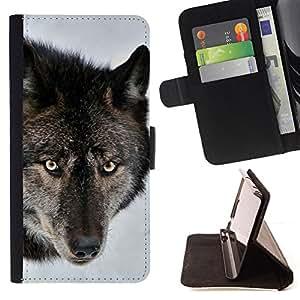 BullDog Case - FOR/Samsung Galaxy Note 3 III / - / wolf snow forest wild animal face portrait /- Monedero de cuero de la PU Llevar cubierta de la caja con el ID Credit Card Slots Flip funda de cuer