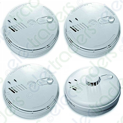 Set of 3 x Aico EI141RC Mains Smoke Alarms + EI144RC Mains Heat Alarm with FREE MCD LED Keyring Torch