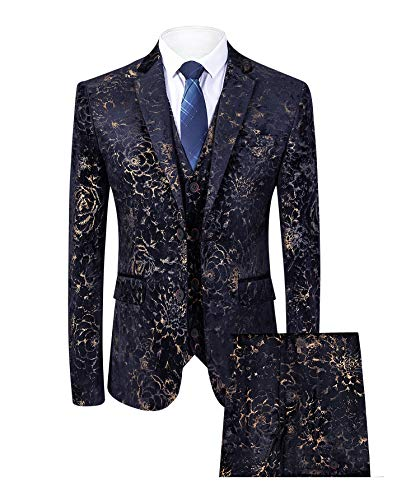 (MAGE MALE Men's Pinstripe 3 Piece Suit Slim Fit Elegant Single Breasted Business Wedding Party Blazer Vest& Pants Set (Dark Blue, XS))