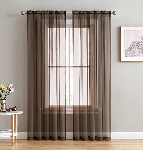 (HLCME Chocolate Brown 2 Pack 55 inch by 84 inch Window Curtain Sheer Panels )