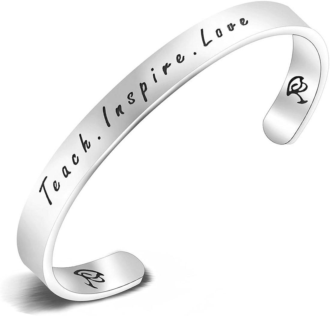 KUIYAI - Collar/pulsera con colgante para profesor con inscripción «Teach. Inspire. Love» grabada a mano