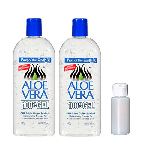 Fruit Of The Earth Aloe Vera 100% Gel, Crystal Clear - 12oz 2 Pack with 1 oz Empty Travel Size Bottle (Oz Hair 12 Lotion Bottle)