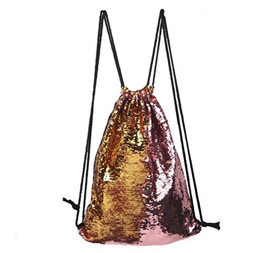 Luoluoluo Womens Outdoor Rose Printing Sports and Leisure Dual-color Sequins Neutral Chest Bag C