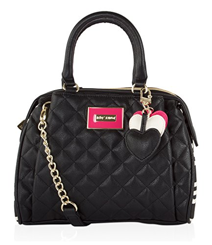 Betsey Johnson Quilted Barrel Cross-body Satchel Bag - Bone/Black