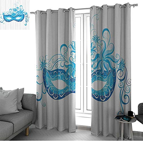 (Masquerade Decorations Collection 2 Panels Set Bedroom Kitchen Venetian Mask Majestic Impersonating Enjoying Halloween Theme Image Print Curtains for Living Room Navy Turquoise W84 x L96)