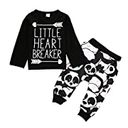 Newborn Infant Baby Boy Girl Clothes T-shirt Tops+Pants Leggings Outfits Set (6-12 Month)