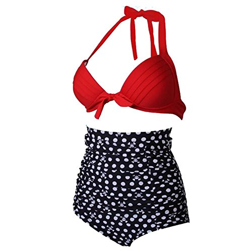 Vissgirl 2016 European and American Fashion Lady Waist Bikini Swimsuit Split Spa Swimwear Printing Skull Kito(XL)